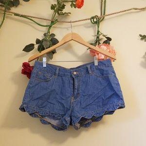 Chambray Denim Scalloped Shorts